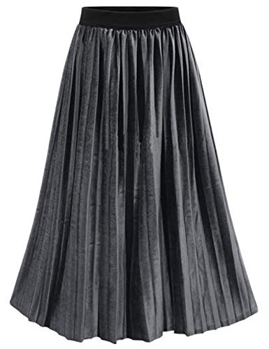 Omoone Women's High Elastic Waist Velvet Velour Maxi Long Pleated Swing Skirt (Grey, XXL)