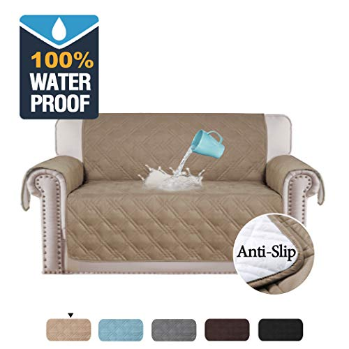 H.VERSAILTEX 100% Waterproof Furniture Protector Cover for Loveseat Non Skid Couch Covers for Pets, Quilted Sofa Cover for Loveseat, Protect from Pets, Spills, Wear (Small Love Seat: Taupe) (Covers Unique Sofa)