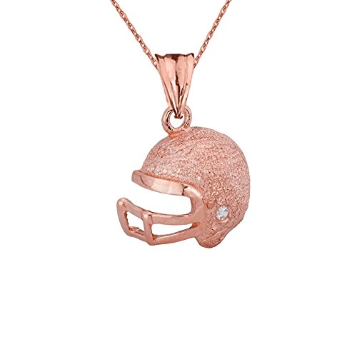 Fine Football Helmet Diamond in Textured 10k Rose Gold Pendant Necklace, (Dia Gold Pendant)