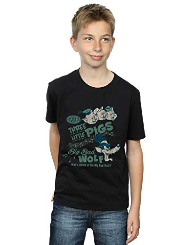 Disney Boys Three Little Pigs Who's Afraid of The Big Bad Wolf T-Shirt Black 9-11 Years