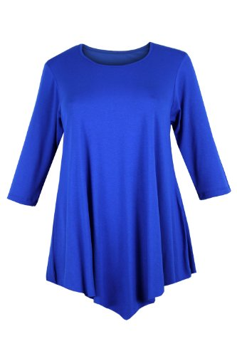 Curvylicious Women's Plus Size 3/4 Sleeve Round Neck Tunic Top 18 Blue