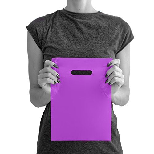 200 Purple Merchandise Bags 9x12-1.50 mil Extra Thick LDPE - Glossy Shopping Plastic Bag Bulk with Die Cut Handle - Small Size - 100% Recyclable - TOP RATED by Merchbags