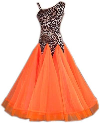 garuda 社交ダンス衣装 レディースダンスドレス ダンスウェア サイズ調整対応 ヒョウ柄+オレンジ 画面色 XXL