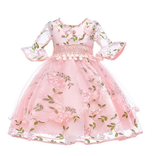 (JIANLANPTT Kids Girl Fairy Flower Embroidered Wedding Dresses Flare Sleeves Gauze Princess Party Dress Pink 7-8)