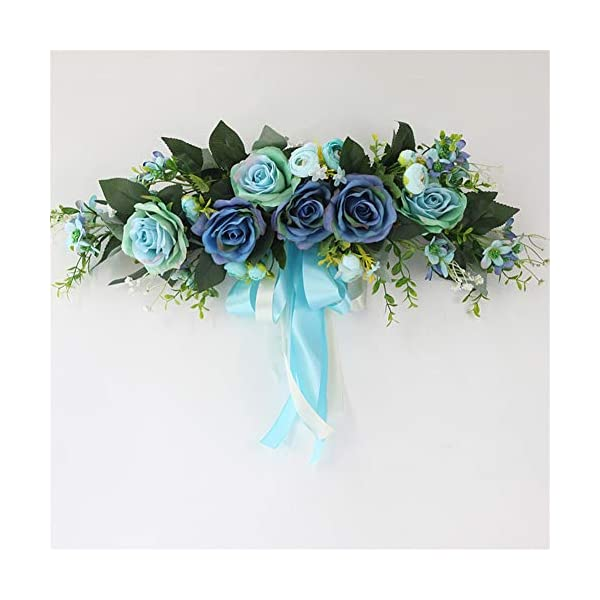 Liveinu Handmade Floral Artificial Simulation Peony Flowers Garland Wreath Wedding Table Centerpieces for Home Party Decor 21″ W x 7″ H Blue Swag Wreath