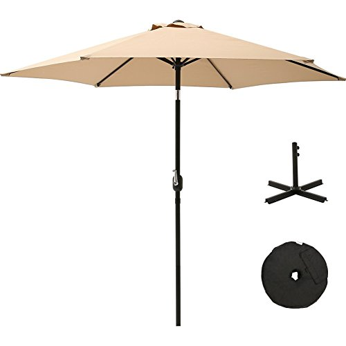 SUPERJARE Outdoor Umbrella with Cross Base and Sandbag, 9 FT Patio Market Table Umbrella for Garden/Balcony/ Beach, Beige by SUPERJARE