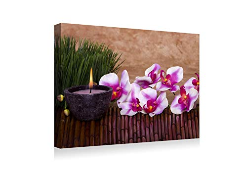 SHADENOV Canvas Prints Wall Art - Orchid Flower Candle Grass Bamboo - Modern Home Deoration Wall Decor Printing Wrapped Stretched Canvas Art Ready to Hang 20x14 Inches -