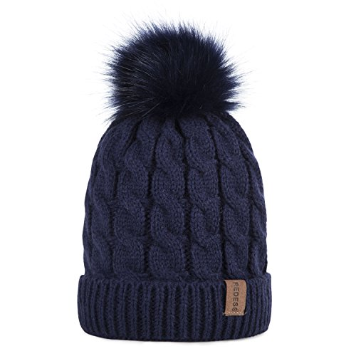Navy Fleece Beanie - Kids Winter Warm Fleece Lined Hat, Baby Toddler Children's Beanie Pom Pom Knit Cap for Girls and Boys by REDESS (Navy)