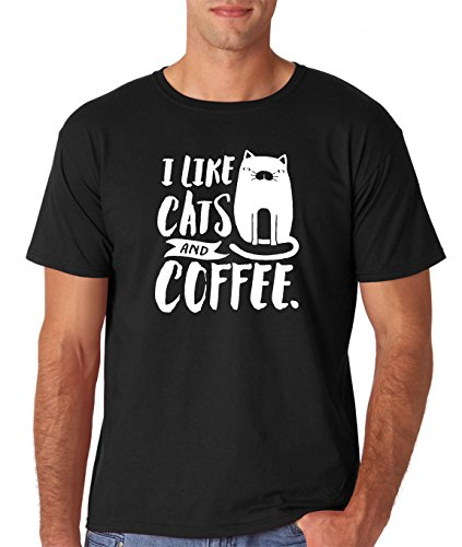 AW Fashions I Like Cats and Coffee - Funny Premium Men's T-Shirt (XX-Large, Black)