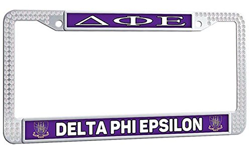 DELTA PHI EPSILON License Plate Frame Sorority Fraternity With Logo Car License Plate Frame - White Crystal Personalized Auto License Plate Frame With 2 Holes and Screws Fasteners