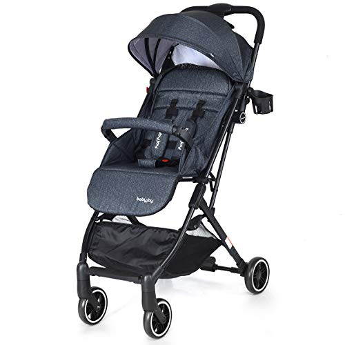 BABY JOY Stroller, Pram Baby Carriage, Lightweight Stroller with 5-Point Harness, Multi-Position Reclining Seat, Warm Foot Cover, Extended Canopy, Easy Folding for Travel, Airplane Compartment (Ink)