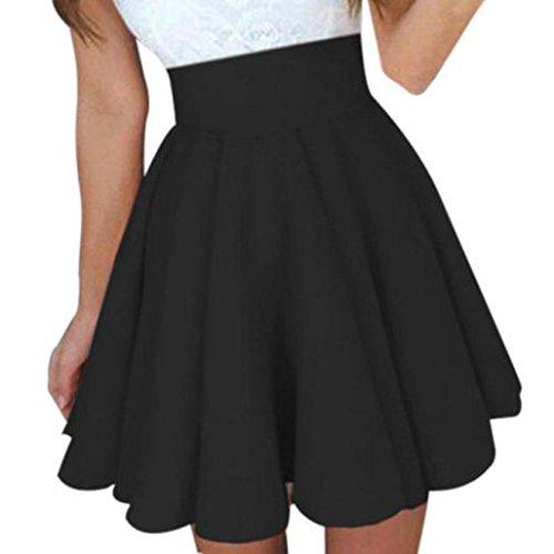 ADESHOP Femmes Taille Haute Fluffy Couleur Pure Mini Jupe Dames T Femmes Mode DContractE Sauvage Robes Jupes Jupe TrapZe Jupe PlissE Noir