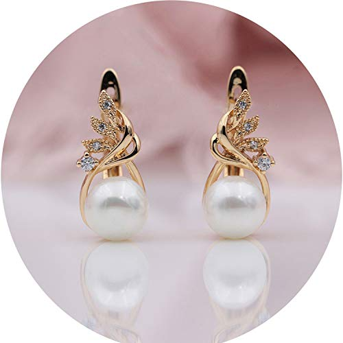 wax Inlay Natural Zircon Shell Pearls Dangle Earrings,Rose Gold Color ()