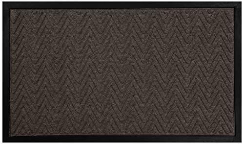 Rubber Door Mat, Heavy Duty Doormat for Indoor Outdoor, Waterproof, Easy Clean, Low-Profile Mats for Entry, Garage, Patio, High Traffic Areas (Brown: Wavy)