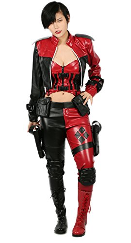 Hot Harley Quinn Costumes (Harley Costume Sexy Lady Leather Set Outfits Game Cosplay Halloween XXL Hotwind)