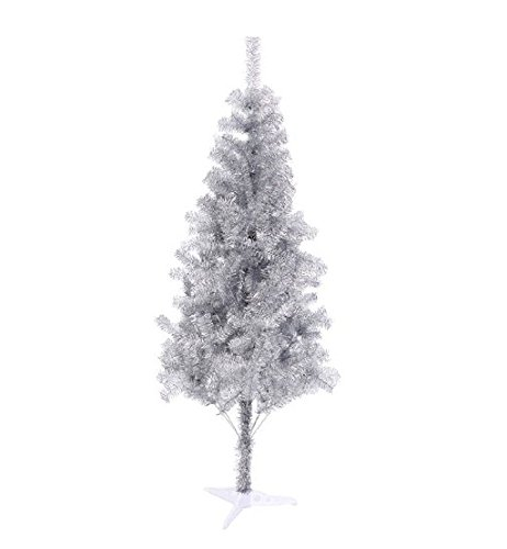 6' Ft Sparking Gorgeous Folding Artificial Tinsel Christmas Tree Silver Color 450 Tips-Unlit