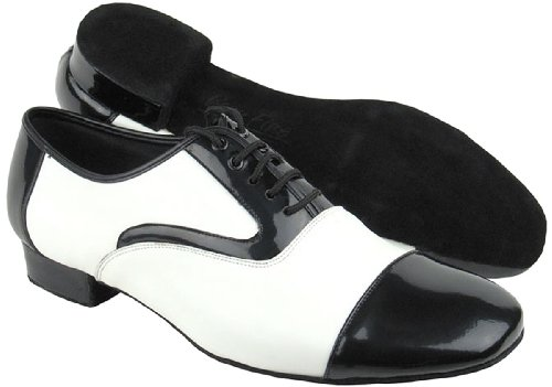 """Sehr feine Männer Salsa Ballroom Tango Latin Tanzschuhe C916102 Bundle mit Schuh Drahtbürste Ferse 1 """"Ferse Schwarzes Patent und weißes Leder"""