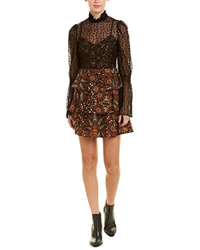 - BCBGeneration Women's Tiered Mock Neck Dress, Black Multi, 10