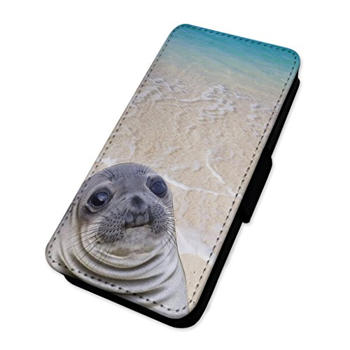 Divertente Scioccato Seal Meme–Flip cover in pelle cover Apple Iphone 8