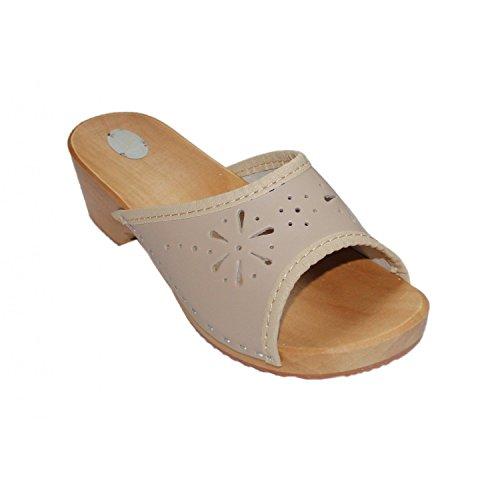 Damen Clogs Holzschuhe Leder Holz Pantoletten mit Absatz Sandalen Bunte Farben Beige