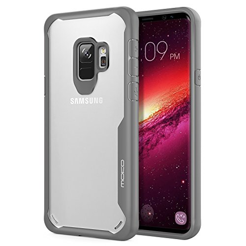 Samsung Galaxy S9 Case, MoKo Clear Slim Fit Lightweight Shockproof Armor Shield, Flexible TPU Bumper Edge & Rigid PC Back Panel Cover for Samsung Galaxy S9 5.8 Inch - Grey