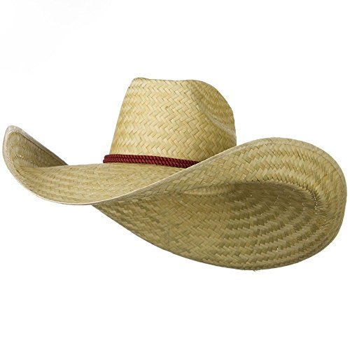 Oversized Waster 7 Inch Brim Hat Natural Straw Giant Western Sheriff Cowboy ()