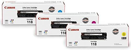 Canon Lasers Genuine Toner 118 Color Bundle CMY (3 Pack)