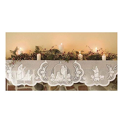 Mantle Cover (Whops Shop White Lace Christmas Fireplace Mantle Scarf Cover Festival Cover Decor)