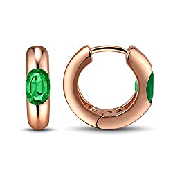 Emerald Earrings In Rose And Yellow Gold