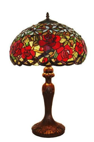 (Amora Lighting AM1535TL16 Tiffany Style Res Roses Table Lamp 24