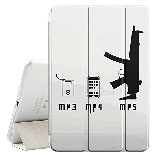 STPlus MP3 MP4 MP5 Machine Gun Funny Smart Cover With Back Case + Auto Sleep/Wake Funtion + Stand for Apple iPad Pro (9.7