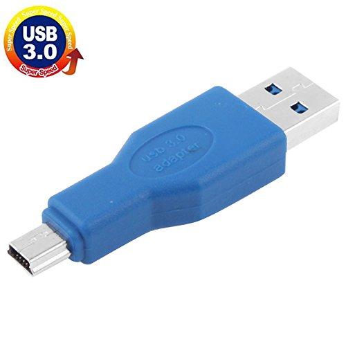 Blue HUIFANGBU Super Speed USB 3.0 AM to Mini 5-Pin USB Adapter