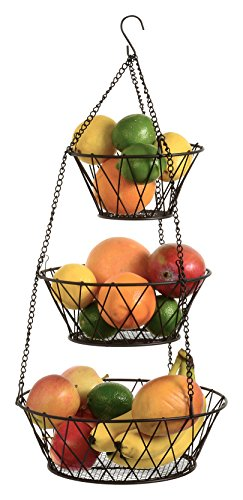 Heavy Duty Bronze 3-Tier Round Iron Hanging Basket - 25in Long / in X Pattern