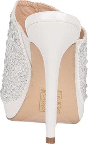 Sandalo Scorrevole Lauren Lorraine Da Donna Mimi Impreziosito, Tessuto Bianco, Misura 5,5 M