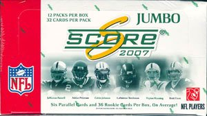 Football Atomic (2007 Score Football Factory Sealed Jumbo Pack Box (Each Pack Includes 3 Rookies, 3 Glossy Parallels and 2 Atomic Parallels-Random Autographs))