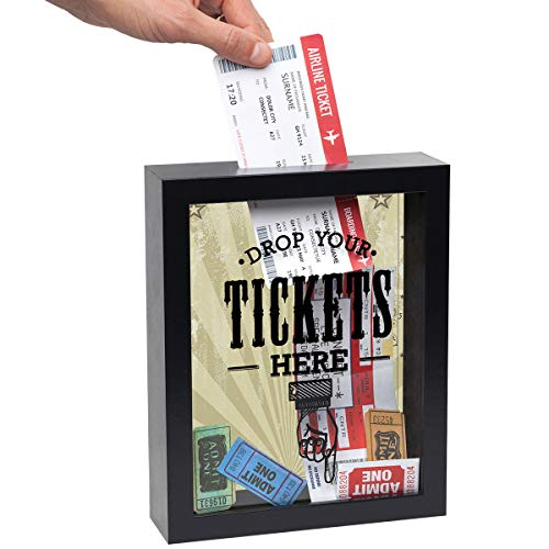 Americanflat 7x9 Inch Drop Your Tickets Here Shadow Box Frame, Black