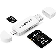 KiWiBiRD Micro USB to USB 2.0 OTG Card Reader, Micro USB & USB 2.0 SD/Micro SD Card Reader for Android Smartphone/Tablet with OTG Function, PC, MacBook and Smart TV - White