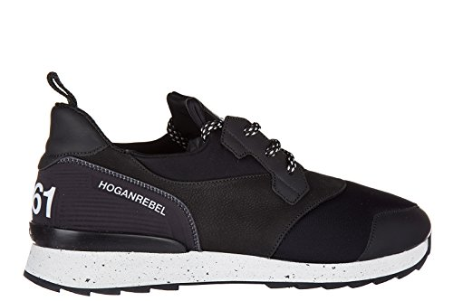 Hogan Rebel zapatos zapatillas de deporte hombres en piel nuevo r261 allacciato negro