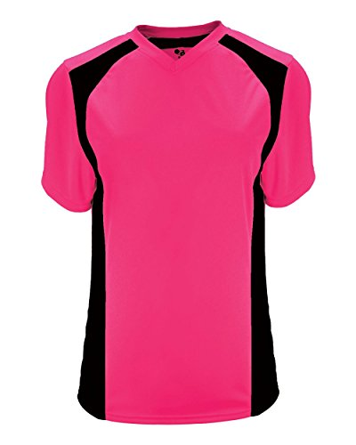 Hot Pink/Black Ladies Medium (Blank Back) Moisture Wicking V-Neck Shirt/Uniform Jersey Top - Pink Softball Jerseys