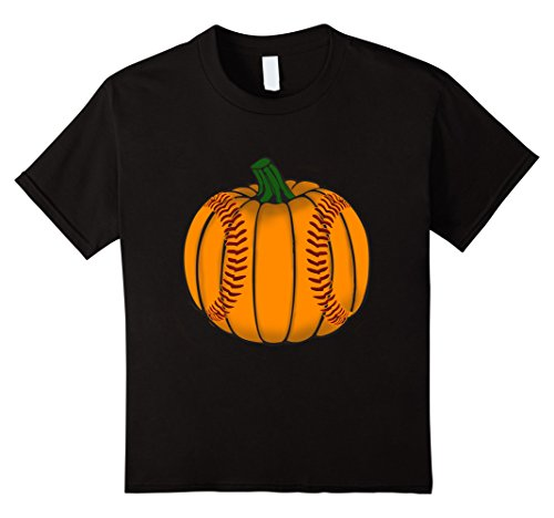 [Kids Funny Pumpkin Baseball Sports Lover Halloween T-Shirt 8 Black] (Baseball Catcher Halloween Costume)