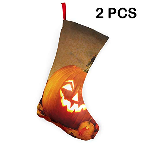 Liumong Jack O Lantern Carving Pumpkin Halloween Scary Ghost Christmas Stockings Xmas Socks Ornament Themed 12 Inch Two Piece Big Pair Design Empty Women Men Country Decorations Modern