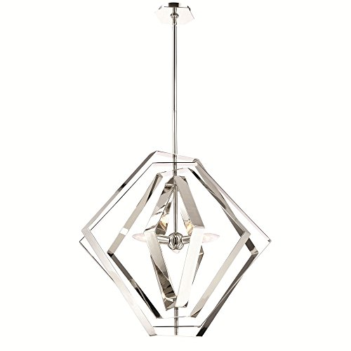 (Eurofase Downtown Symmetrical Adjustable Modern Chandelier, Hand Polished Chrome Finish, 3 B10 Light Bulbs, 27 Inches in Diameter-Model 31886-017)