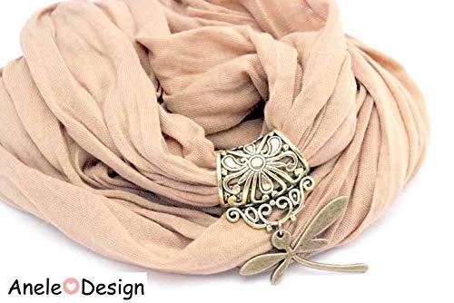É charpe foulard bijou taupe, Libellule bronze dentelle
