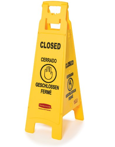 Rubbermaid FG611478 Floor Sign with Multi-Lingual Closed Imprint, 4-Sided, 38