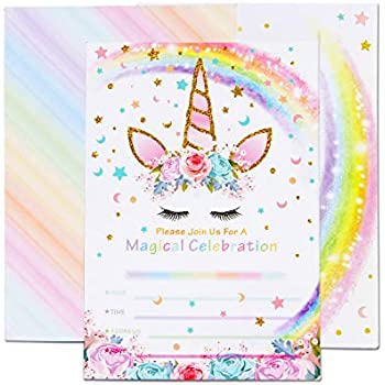 AMZTM Magical Unicorn Party Invitations With Envelopes For Kids Birthday Baby Shower Supplies 20 Pieces Of Fill In Blank Invitation Card Kit
