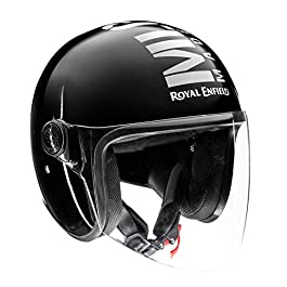 Royal Enfield OP MLG (V) Open Face with Visor Helmet Gloss Black (M)57 CM (RRGHEM000172)