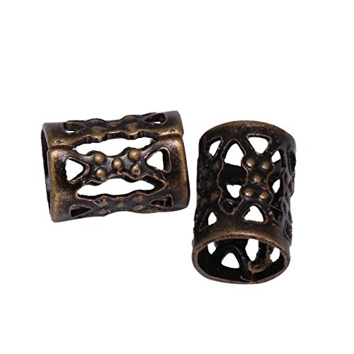 50pcs Top Quality 8mm Antique Bronze Plated Filigree Pattern Tubes Large Hole Spacer Beads (Hole ~4.9mm) CF106-B