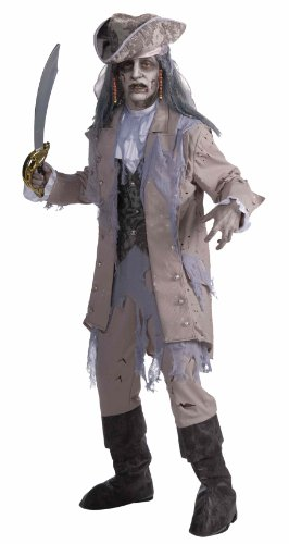 Men's Zombie Pirate Ghost Costume, Gray/Beige, One Size