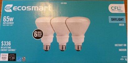 EcoSmart 65W Equivalent Daylight 5000K BR30 CFL Light Bulb (6-Pack)