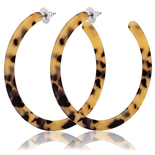 Resin Large Hoop Earrings Mottled Leopard Acrylic Earrings Round Circle Statement Earrings for Women Girls (B: 4 Leopard Large) ()